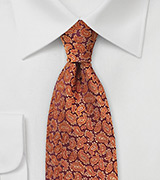 Woven Paisley Tie in Autumn Orange