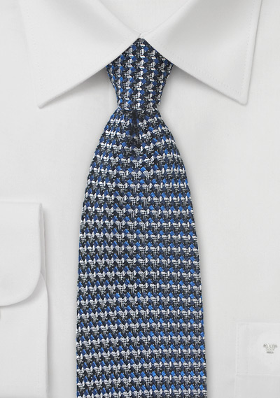 Retro Weave Tie in Blue and Gray