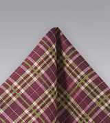Plaid Hanky in Wine Red and Lime Green