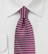 Retro Weave Tie in Magenta and Pink