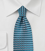 Retro Weave Silk Tie in Teal and Silver