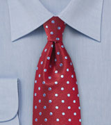Textured Silk Tie with Polka Dots