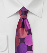 Purple and Pink Skinny Tie with Large Dots