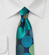 Teal Blue Skinny Necktie with Giant Dots