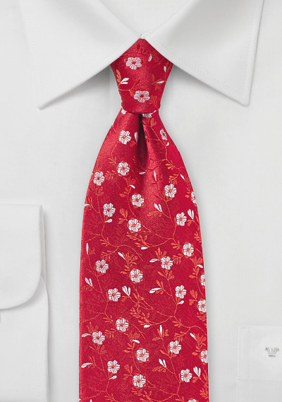 Bright Red and Silver Floral Tie