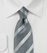 Modern Striped Tie in Pewter