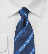 Modern Striped Silk Tie in Deep Blue
