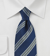 Textured Stripe Tie in Navy and Olive