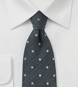 Raw Silk Polka Dot Tie in Pewter