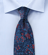 Luxe Floral Silk Tie in Rich Blues and Red