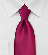 XL Length Solid Color Necktie in Christmas-Red
