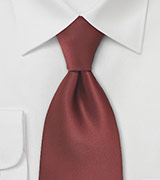 Dark Cognac Brown Tie in XL Length