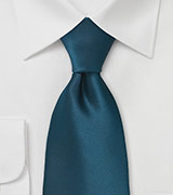 Dark Teal Blue Necktie in XL Size