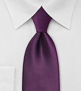 Extra Long Length Berry Purple Tie