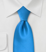 Solid Ice Blue Necktie in XL