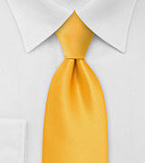 Solid Amber Yellow Tie in XL Length