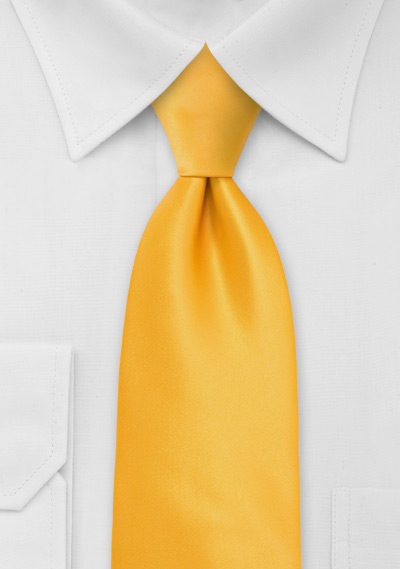 Solid Amber Yellow Mens Tie