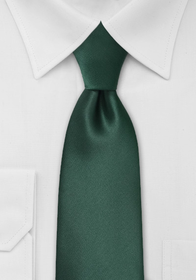 Solid Dark Green Tie in Extra Long