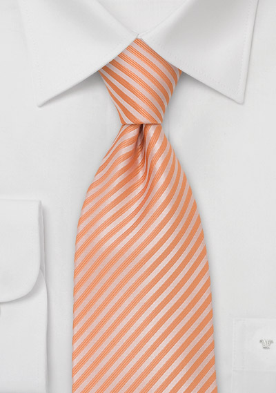 Tangerine Necktie<br>Tangerine Tie with Narrow Stripes