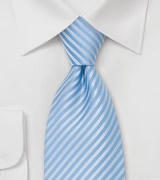 Powder Blue Striped Tie in XL