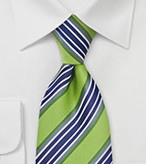 Kids Necktie in Lime, Navy, and Gray