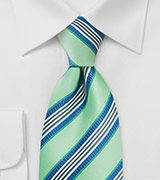 Striped Tie in Pale Kelly-Green