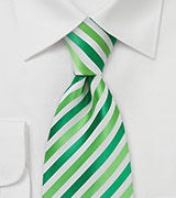 Grass Green and White XL Length Tie