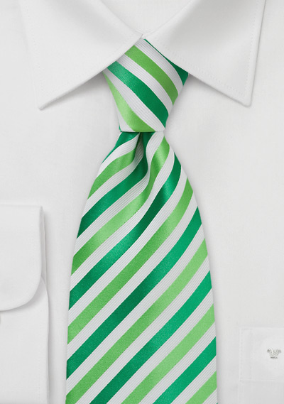 Grass Green and White Tie