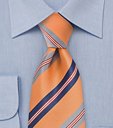 Striped Tie in Orange, Navy, Silver