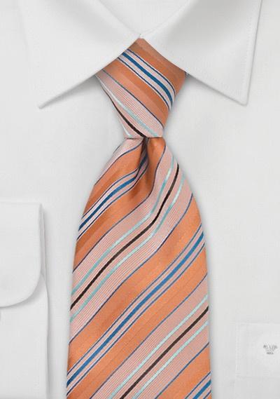 Orange Blue Turquoise Tie