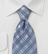 Light Blue Checkered Tie