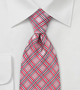 Checkered Tie in Light Coral Red