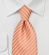 Bright Peach Orange Tie in Extra Long Size
