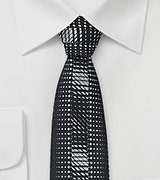 Black and Silver Skinny Tie