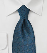 Square Patterned Tie in Peacock Blue
