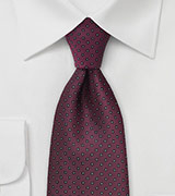 Burgundy and Black Patterned Tie