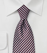 Burgundy and Grey Plaid Tie