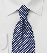 Navy and Platinum Plaid Tie