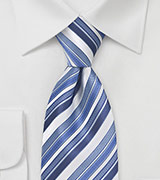 Striped Tie in Blue and White