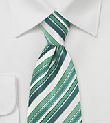 Tonal Green and White Striped Tie