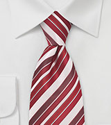 Tonal Red and White Striped Tie