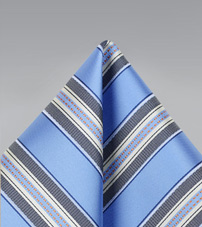 Striped Pocket Square in Blue and Gray