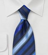 Blue and Silver Striped Tie