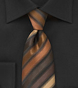 Copper and Brown Striped Tie