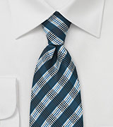 Teal and Black Patterned Tie