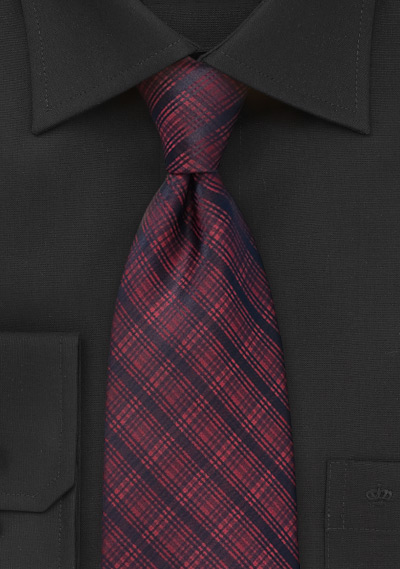 Modern Plaid Tie in Dark Red