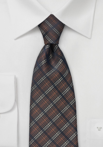 Brown and Black Plaid Patterned Tie