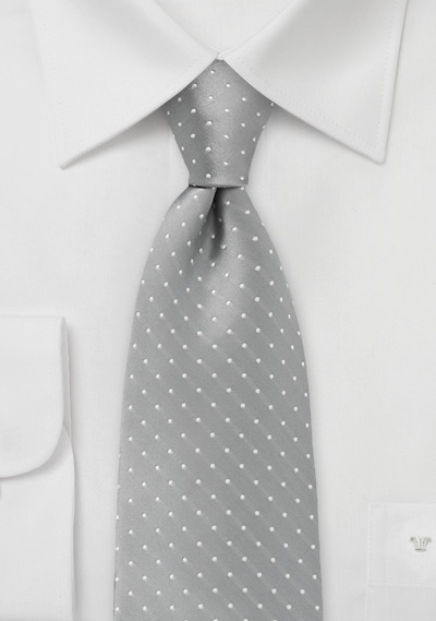 Soft Silver and White Polka Dot Tie for Kids