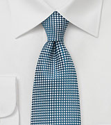 Micro Check Tie in Teal and White