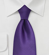 Solid Purple Tie in Extra Long Size